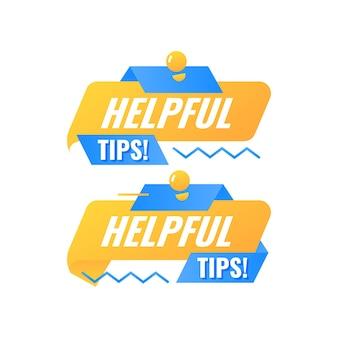 Conseils utiles étiquette d'insigne de bulle de dialogue avec lampe