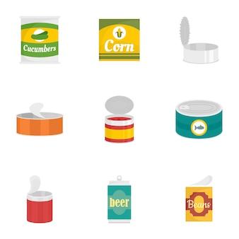 Conserver le jeu d'icônes de nourriture, style plat