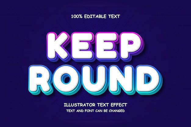 Conserver rond, effet de texte modifiable en 3d dégradé rose bleu style ombre moderne