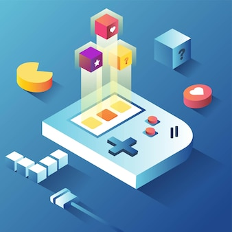 Console de jeu d'arcade avec boîte mystérieuse une autre capacité de vie isométrique