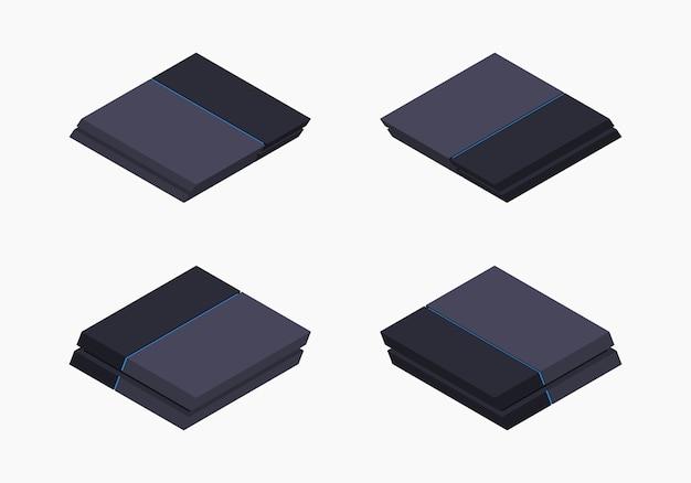 Console de jeu nextgen noire isométrique