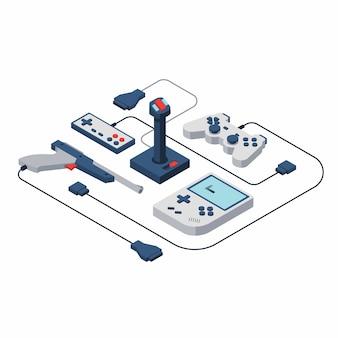 Console de jeux. illustration isométrique de vecteur de manette de jeu.