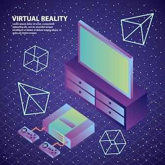 Console de réalité virtuelle contrôle les chiffres 3d de télévision