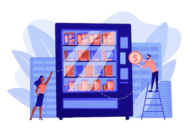Le consommateur insère une pièce d'un dollar dans le distributeur automatique et achète des collations et des boissons. service de distributeur automatique, entreprise de vente, concept de machine en libre-service. illustration isolée de bleu corail rose