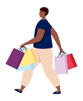 Consommateur de personne commerçante avec illustration vectorielle de sacs d'achat
