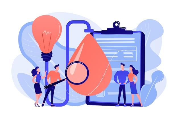 Les consommateurs avec une loupe testent de nouvelles propriétés de produit. test de produit, identification des besoins des clients, illustration de concept d'études de marché
