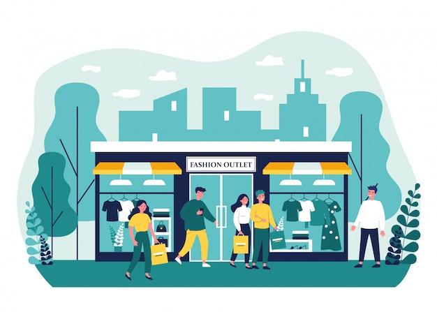 Les consommateurs shopping dans l'illustration de la boutique de vêtements
