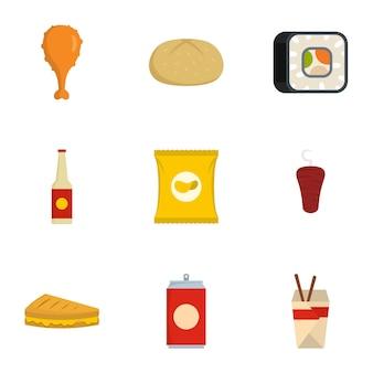 Consommer jeu d'icônes, style plat