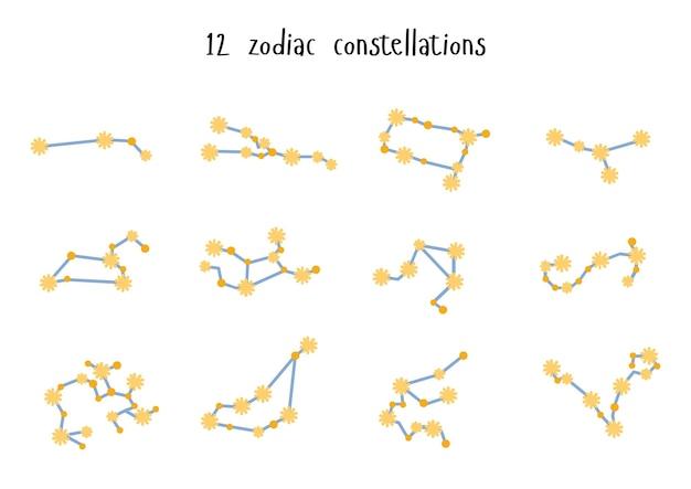 Constellations, collection de 12 signes du zodiaque avec titres. bélier, taureau, lion, gémeaux, vierge, scorpion, balance, verseau, sagittaire, poissons, capricorne, cancer. vecteur, isolé sur fond blanc
