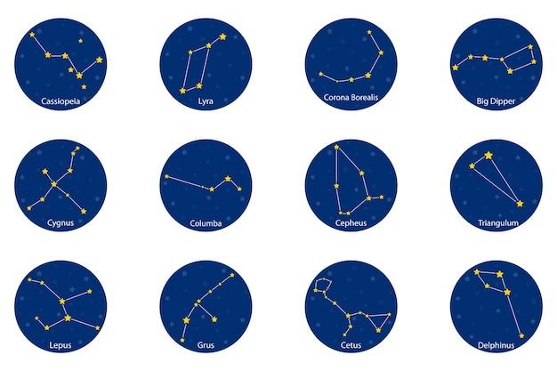 Constellations sur fond rond bleu, illustration vectorielle