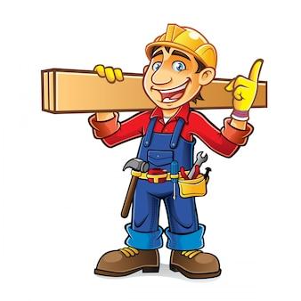 Un constructeur de bandes dessinées épaulait une planche de bois tout en ayant l'idée avec enthousiasme