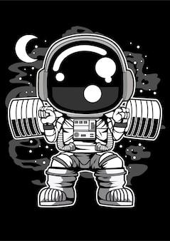 Constructeur de corps d'astronaute barbell