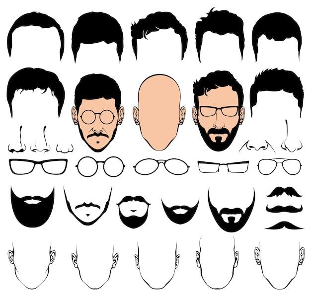 Constructeur de design avec des formes de silhouette de tête d'homme vectorielles de coupes de cheveux, lunettes, barbes, moustaches. h