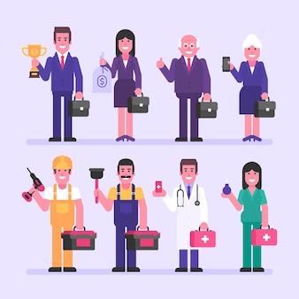 Constructeur de docteur d'infirmière de femme d'affaires d'homme d'affaires. jeu de caractères. illustration vectorielle