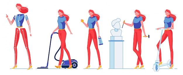 Constructeur de femme occupée avec différentes activités.