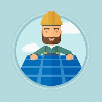 Constructeur installant panneau solaire