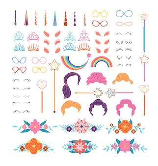 Constructeur de licorne. détails poney élégants. cornes, crinière et cils, oreilles et couronnes, lunettes.