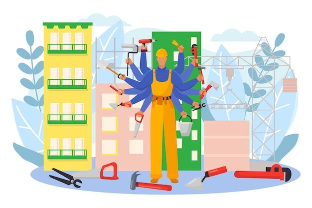 Constructeur masculin spécialiste professionnel personnage multitâche travail rénovation outil maison plat vecteur illu...