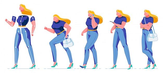Constructeur de personnage de femme plate pour l'animation.