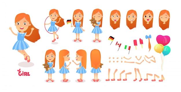 Constructeur de personnage de garçon. kit de mascotte de création de garçon de dessin animé. jeu de création de personnages poses et émotions pour l'animation et les illustrations. mignonne petite fille de dessin animé.