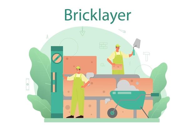 Constructeur professionnel construisant un mur de briques avec des outils et des matériaux