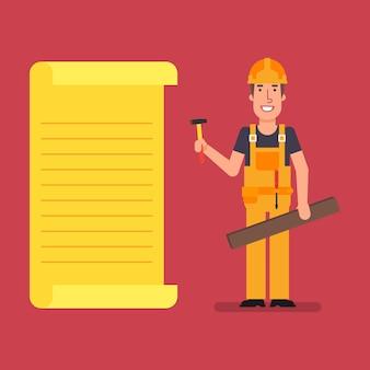Le constructeur se tient près de la liste de papier contenant un marteau et une planche de bois. les travailleurs. illustration vectorielle.