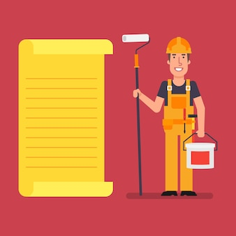 Le constructeur se tient près de la liste de papier contenant un rouleau et un seau de peinture. les travailleurs. illustration vectorielle.