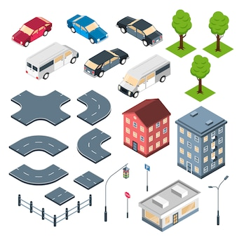 Constructeur de ville isométrique sertie d'éléments routiers bâtiments de la ville et voitures isolées
