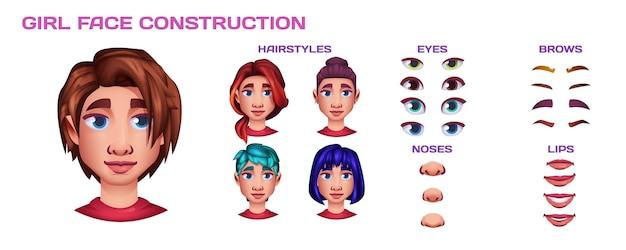 Constructeur de visage de fille avec le nez, les lèvres, les yeux de création