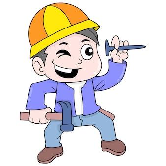 Les constructeurs apportent des clous et des marteaux au travail, art d'illustration vectorielle. doodle icône image kawaii.