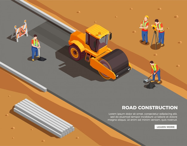 Les constructeurs et les arpenteurs avec des machines et des panneaux d'avertissement pendant la composition isométrique de la construction de routes