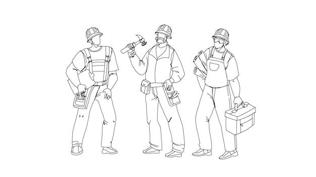 Constructeurs avec équipement de construction et plan