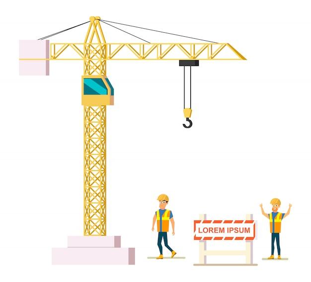 Constructeurs sur l'illustration vectorielle de chantier de construction