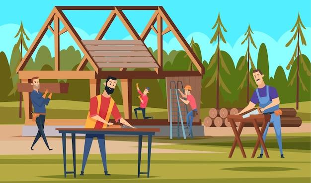 Constructeurs de toits en bois. équipe de charpentiers professionnels faisant de la construction