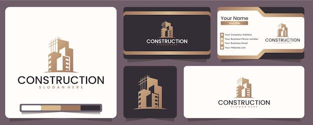 Construction, architectes, aménagements, bâtiments modernes, pour les entreprises du domaine du bâtiment et des architectes, inspiration de conception de logo