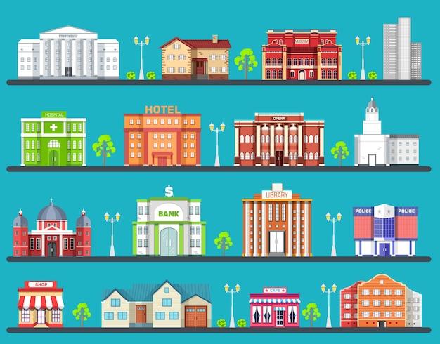 Construction d'architecture: palais de justice, maison, musée, gratte-ciel, hôpital, hôtel, opéra, théâtre.
