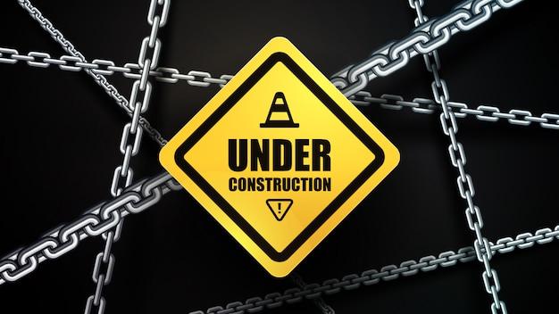 En construction et arrière-plan de la chaîne
