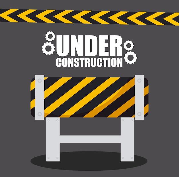 En construction avec barrière de barricade