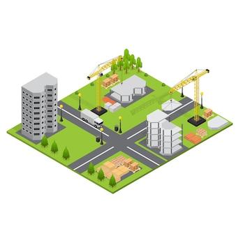 Construction de bâtiments en vue isométrique