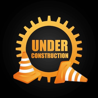 En construction conception icône isolé