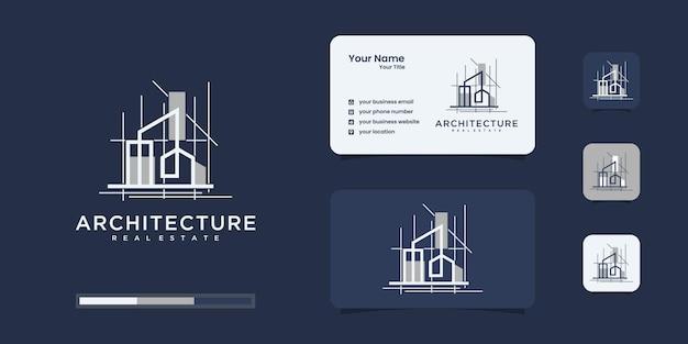Construction, constructeur, bâtiment, couleur or, bannière et carte de visite, inspiration de logo
