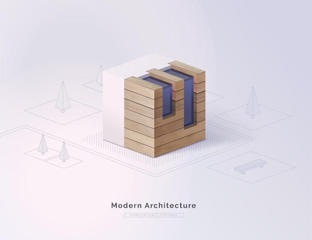 Construction écologique le concept d'un chalet moderne construit à l'aide de matériaux respectueux de l'environnement maison écologique chalet conceptuel isométrique sur fond de forêt stylisée