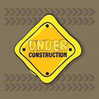 En construction icônes sur fond marron