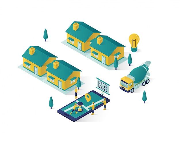 Construction immobilière isométrique
