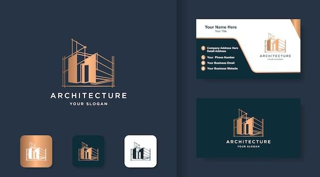 Construction de logo d'architecture dessiner un croquis avec un concept de ligne et une carte de visite debout
