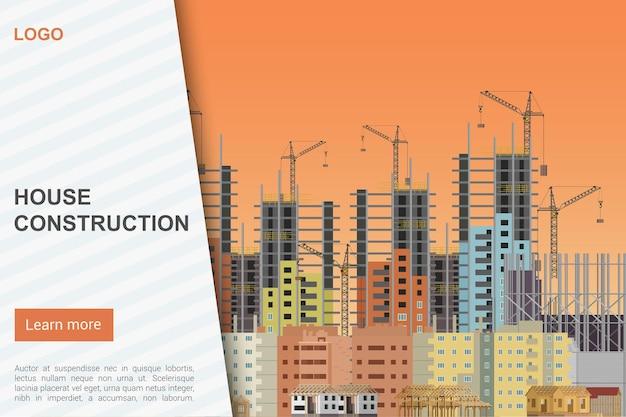 Construction de maisons, modèle de page de destination de la page d'accueil du site web de l'entreprise de construction architecturale