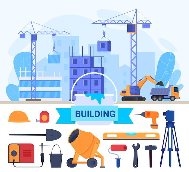 Construction de maisons, outils de réparation illustration vectorielle plane. dessin animé, construction de bâtiments résidentiels, équipements d'ingénierie de grue de travail