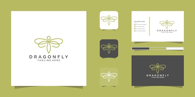 Construction de modèle de conception de logo de ville verte. logo de symbole de contour minimaliste et carte de visite