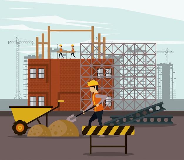 En construction avec des ouvriers