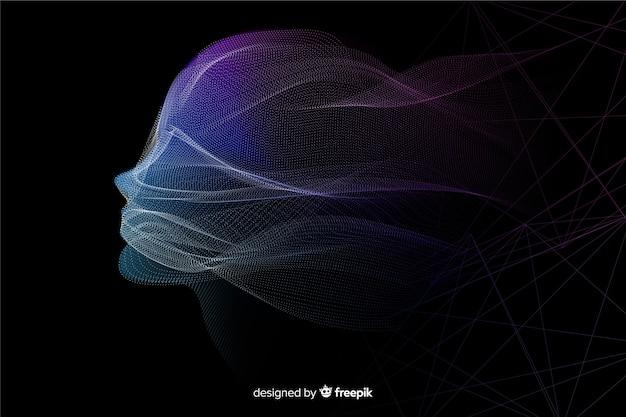 Construction de particules de visage de technologie numérique